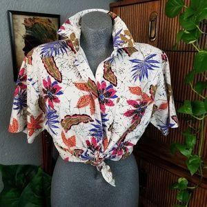 Vintage Button Up Shirt Floral Print Size S - L